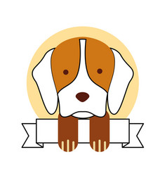 cute dog mascot with ribbon vector image