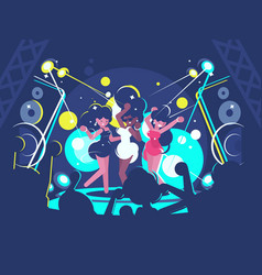 girls dancing in nightclub vector image
