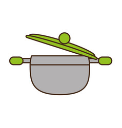 saucepan pot kitchen organic food vector image