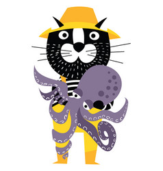 cool cartoon cat like fisherman holding octopus vector image vector image
