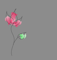 hand-drawn abstract flower with paint strokes vector image