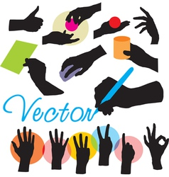 set hands silhouettes vector image vector image