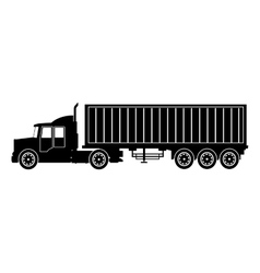 silhouette truck trailer container delivery vector image