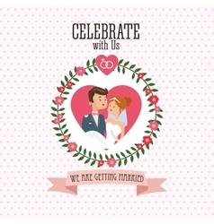 Wedding and marriage couple design vector image