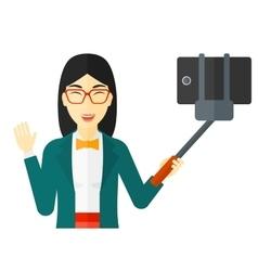 Woman making selfie vector image vector image