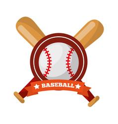 baseball ball bats crossed game sport emblem vector image