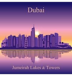 Dubai Jumeirah Lakes Towers silhouette on sunset b vector image vector image