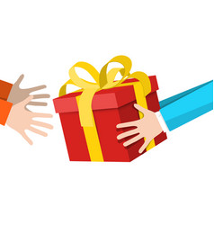 hands holding gift box - delivery service symbol vector image vector image