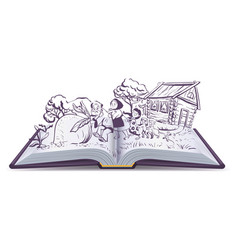 russian fairy tale the turnip open book vector image vector image