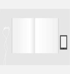 top view empty notebooks headphones and phone vector image