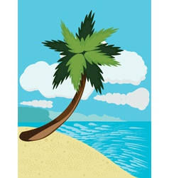 Cartoon beach with palm vector image vector image