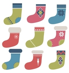 Christmas winter colorful socks vector image vector image
