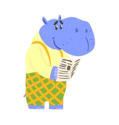 cute cartoon hippopotamus reading newspaper vector image