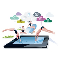 Diving Into A Pool Tablet vector image