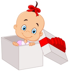 Little baby girl inside open gift box vector image vector image