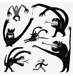 Monsters cartoons set vector image vector image