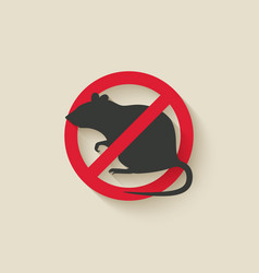 rat warning sign vector image vector image