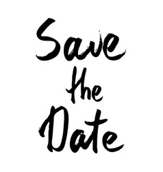 save the date text calligraphy vector image