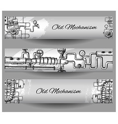 Steampunk banners vector