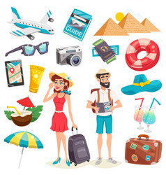 Summer holiday icons set vector