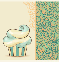 sweet waved cupcake with cream vector image vector image