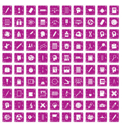 100 learning icons set grunge pink vector
