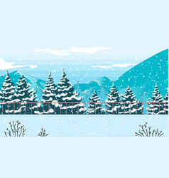 a winter forest and mountains vector image