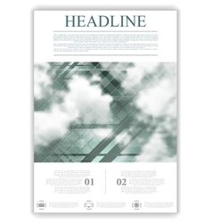 Abstract geometric flyer template layout with sky vector