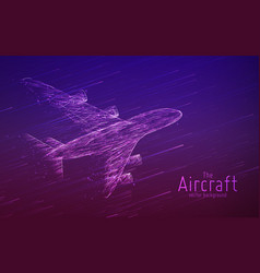 Airliner constructed with glowing lines vector