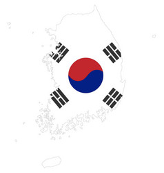 background of south korea map and flag vector image