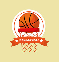 basketball hoop ball game sport emblem vector image