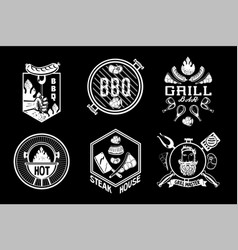 bbq vintage emblem set barbeque retro signs vector image