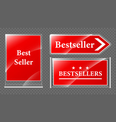 best seller offer signboards and pointer icons set vector image