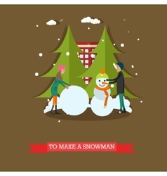 boy and girl making snowman vector image