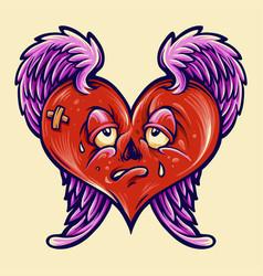 broken heart isolated valentine vector image