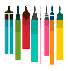 Brushes with colorful paint smudges vector