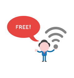 businessman character holding wireless wifi vector image