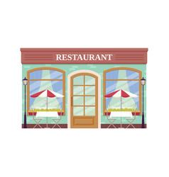 Cafe shop storefront coffee house facade vector