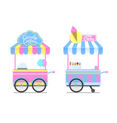 Candy cotton and ice cream wagons pattern vector