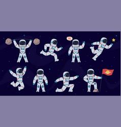 Cartoon astronaut cosmonaut characters vector