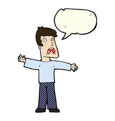 Cartoon frightened man with speech bubble vector