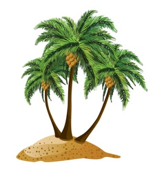 Cartoon island with palms vector