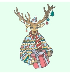 Christmas reindeer with gift and a sweater in the vector
