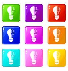 Circuit board inside light bulb set 9 vector