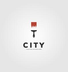 city building brush creative logo design vector image