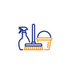 cleaning service icon spray bucket and mop vector image