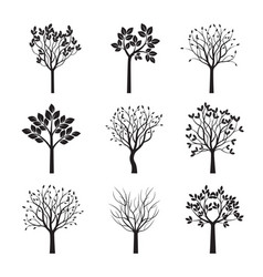 collection black trees vector image