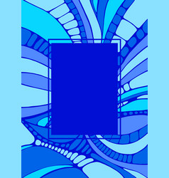 colorful ornamental frame blue shades color vector image