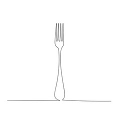 Continuous one line drawing fork vector