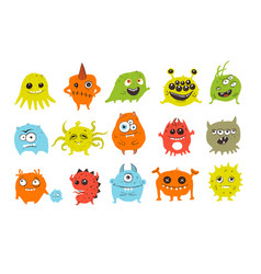 cute colored doodle monsters on white background vector image